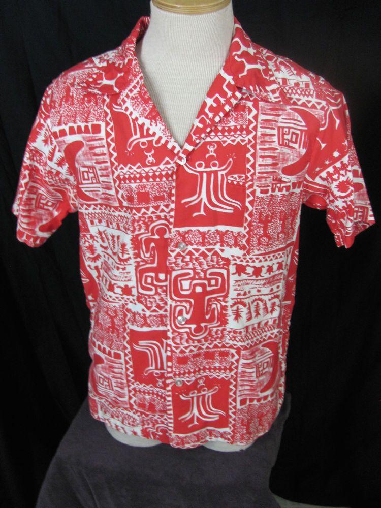 Vtg Kai Nani Hawaiian Shirt Red & White Horizontal Buttonhole Tab on Collar  #KaiNani #Hawaiian