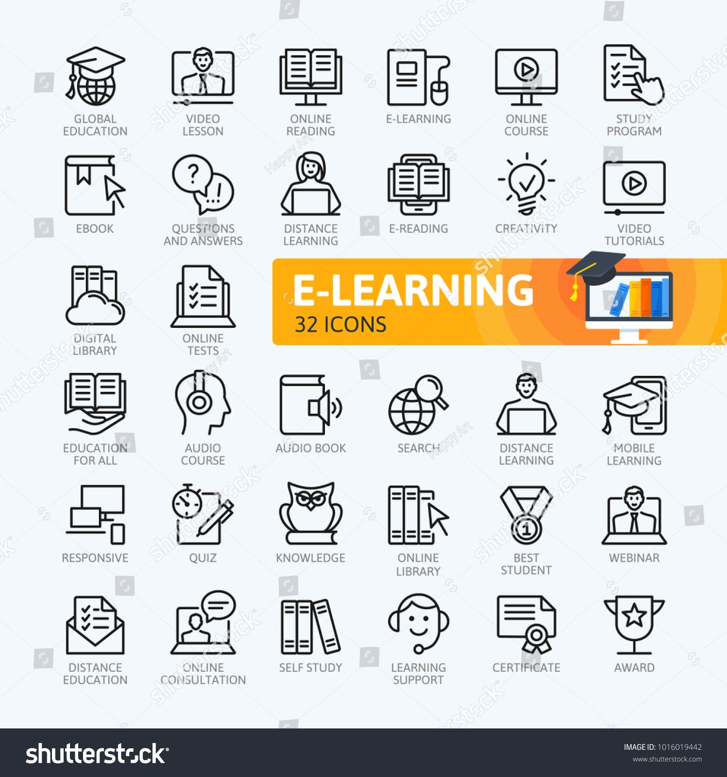 E Learning Online Education Elements Minimal Thin Line Web Icon Set Outline Icons Collection Simple Vector Illustratio Online Education Elearning Line Web