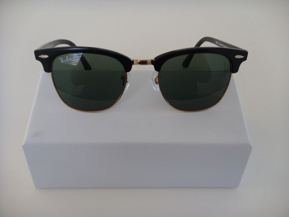 3016 With Rayban And Sunglasses Black Gold Lens Clubmaster New Green XOuPikZT