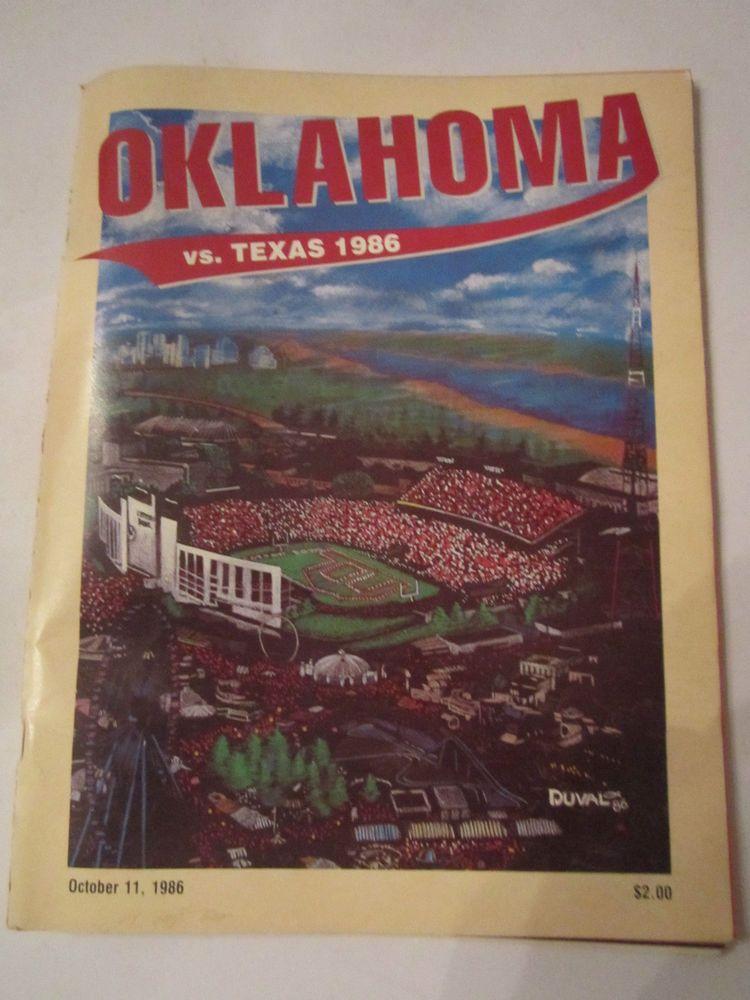 1986 OKLAHOMA VS TEXAS - OFFICIAL FOOTBALL GAME PROGRAM - TUB FP