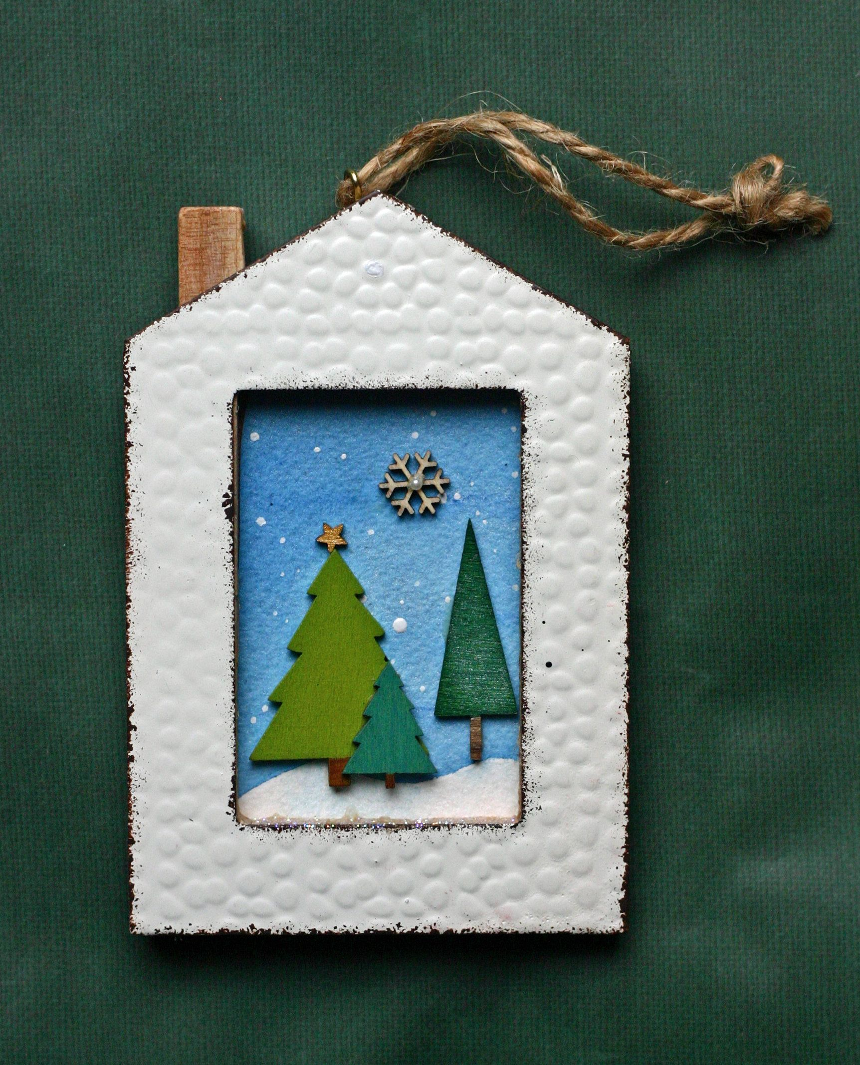 Christmas Ornament House Evergreen Trees Snow Winter Etsy Ornament Frame Christmas Ornaments Wooden Ornaments
