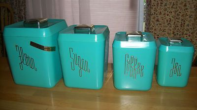 Beau 613 147) Cool Retro Color Teal Set Of 4 Vintage Kitchen Canisters .