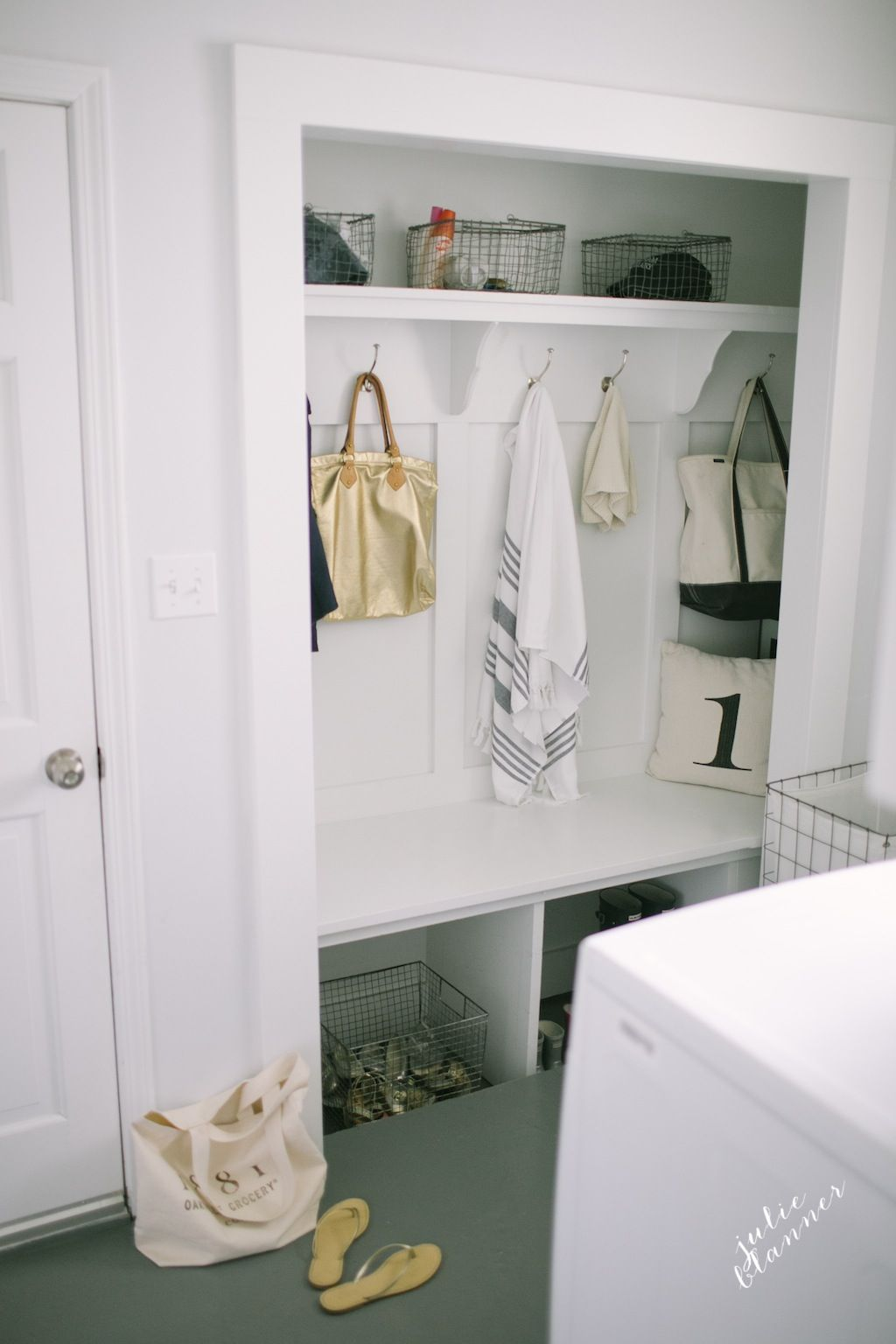 Inexpensive & practical mudroom makeover full of practical