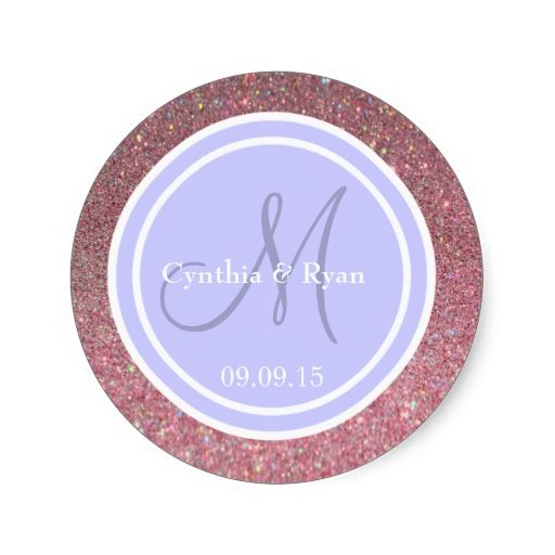 Pink Glitter and Periwinkle Wedding Monogram Round Stickers