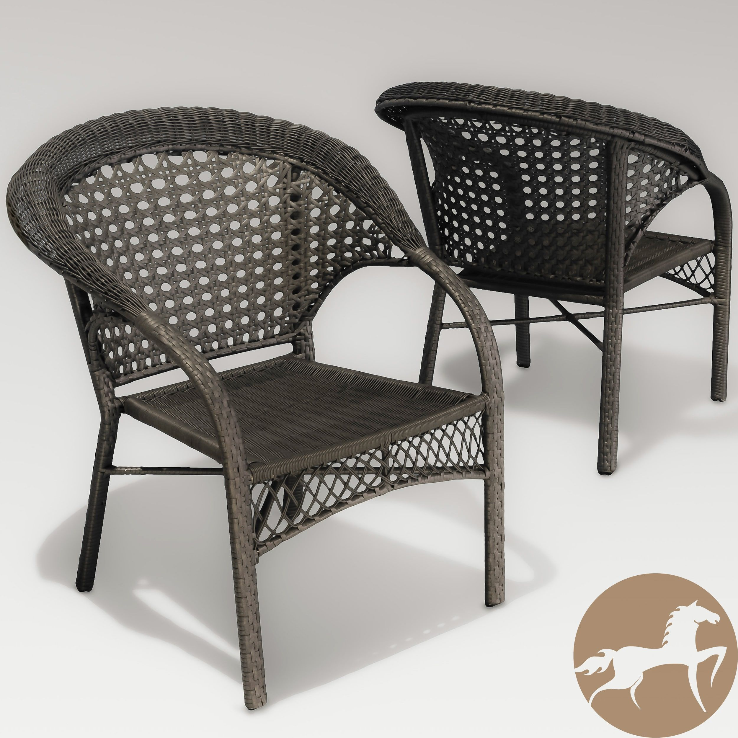Maria Dark Grey Wicker Fan Back Outdoor Club Chairs Set of 2 by