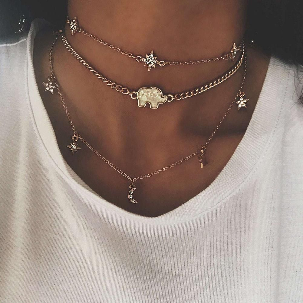 Boho Simple Multi-layer Choker Dainty Silver Gold Crystal Chain Pendant Necklace
