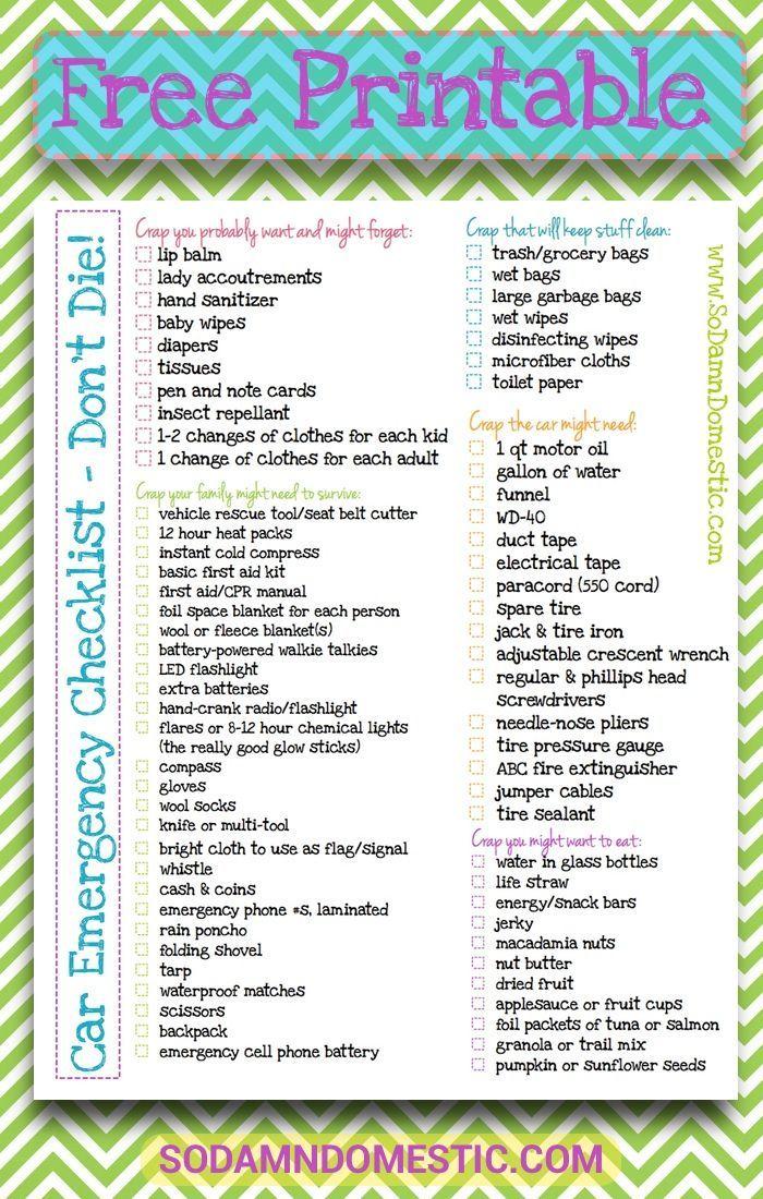 Car Emergency Checklist Printable Dont Die Super Useful