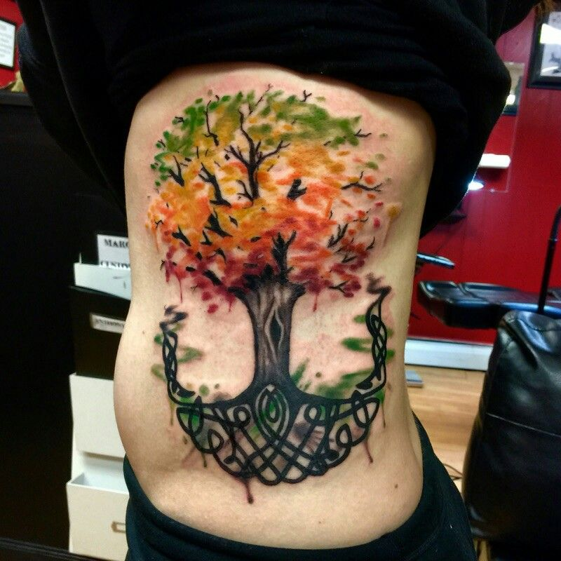Watercolor Celtic Tree Of Life Tattoo Tatuaje De Arbol En