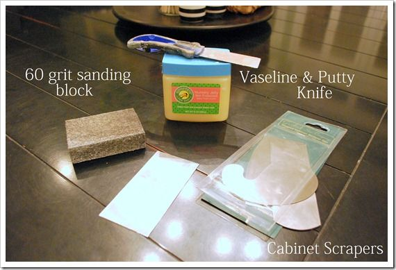 distressing techniques with Vaseline (or candle wax or bar soap) over wood or base coat, cover with top coat then sand away paint over Vaseline etc... Scraper can also be used along edges. via...Sweet Pickens