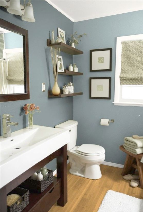 Mountain Stream By Sherwin Williams Beautiful Earthy Blue Paint Color For Bathrooms Especi Best Bathroom Paint Colors Small Bathroom Remodel Bathrooms Remodel