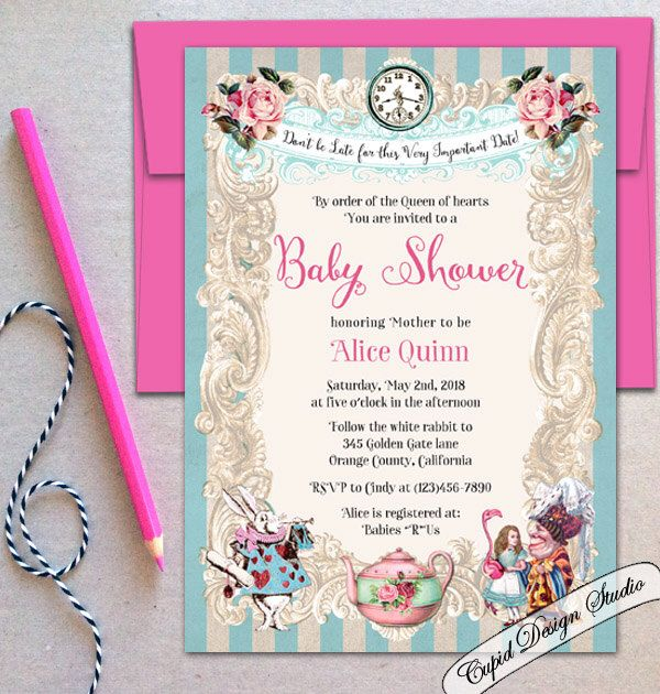 Alice in Wonderland Baby Shower invitations White Rabbit Alice Baby