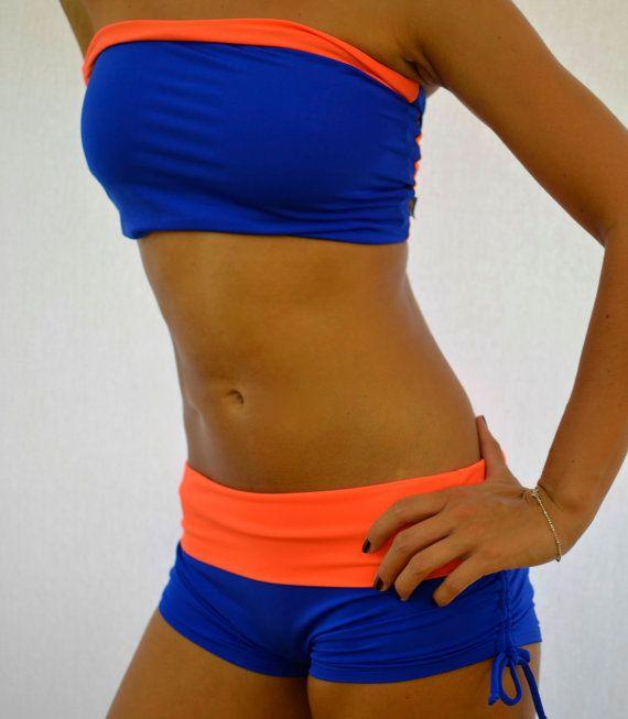 Shorts In Turquoise For Bikram Yoga: Shorts Blue-orange For Bikram Yoga