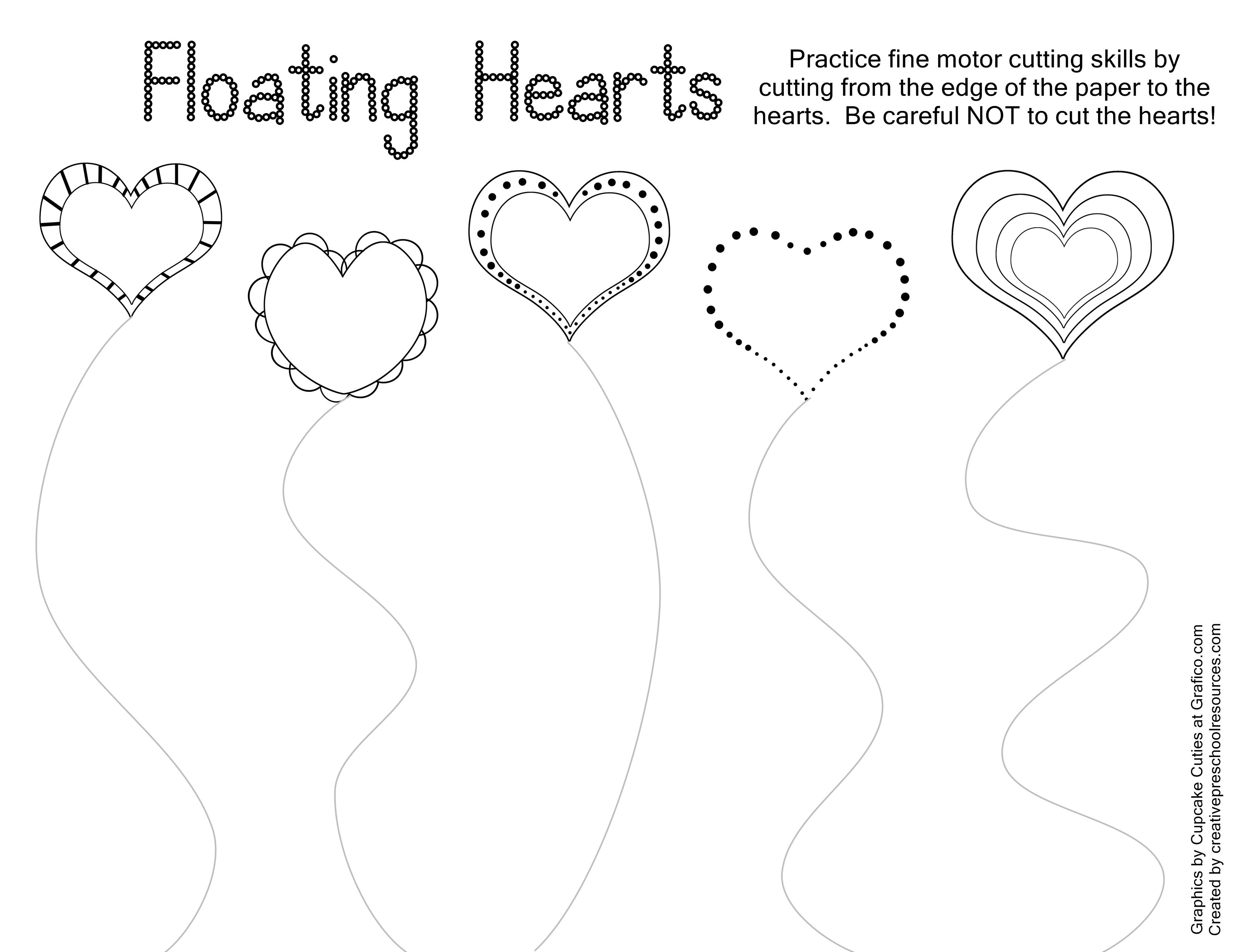 Valentine trace  cut printables  Activities and School
