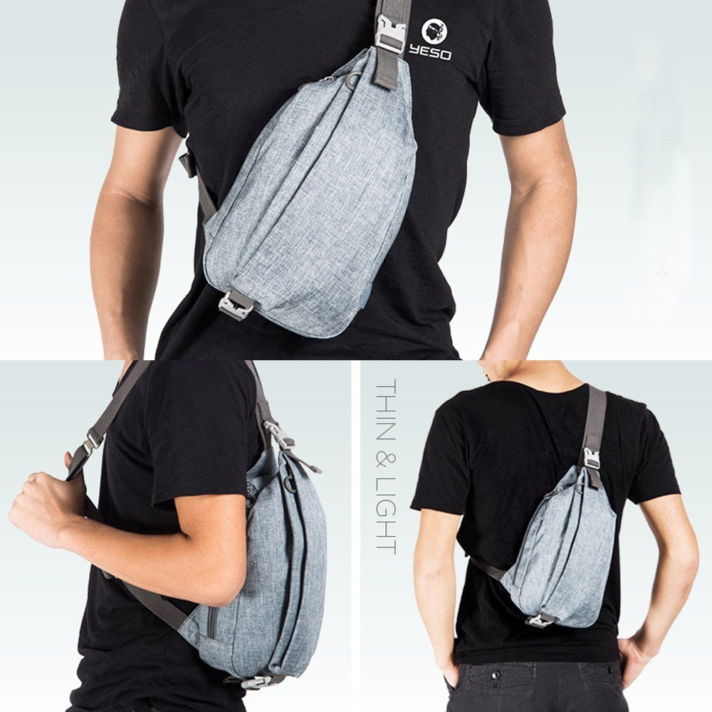 Men Chest Pack Sling Shoulder Handbag Hiking Travel Crossbody PU Messenger Bag
