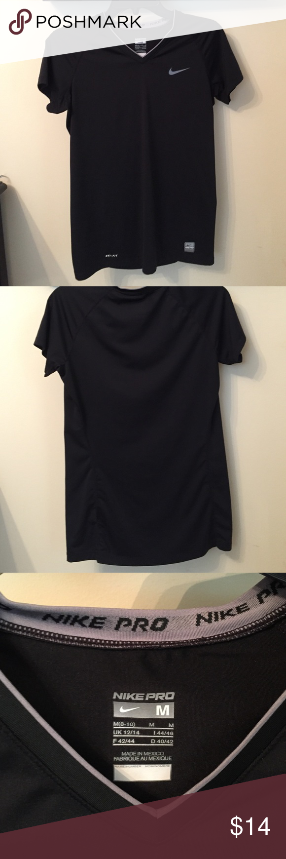 Black nike dri-fit shirt Black nike dri-fit shirt.  Worn but in good condition. 94% polyester and 6% spandex  has a stretch to it Nike Tops Tees - Short Sleeve