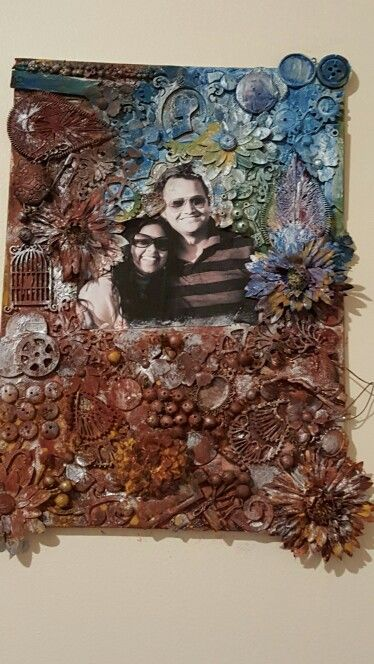 My first mixed media love colkage canvas for my hubby