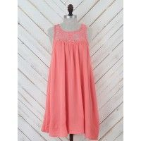 """This dress is a summer lover's best friend! Its crochet high neck is accented with its cool open back and flowy bodice. Style it with some wedges and a straw hat and enjoy the serenity of a beautiful sunset.   Loose   35"""" length"""