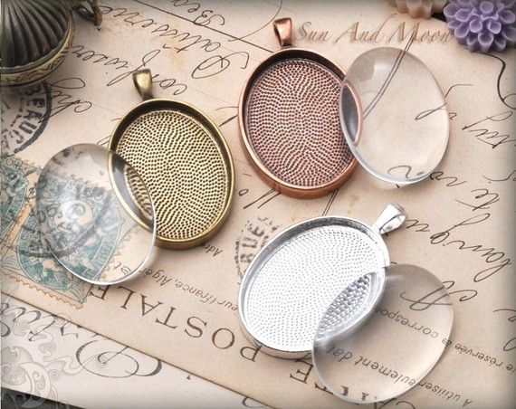 20 Oval Pendant Trays - 22x30mm Oval Pendant Blanks with GLASS Inserts - Bezel Cabochon Settings - 2230T