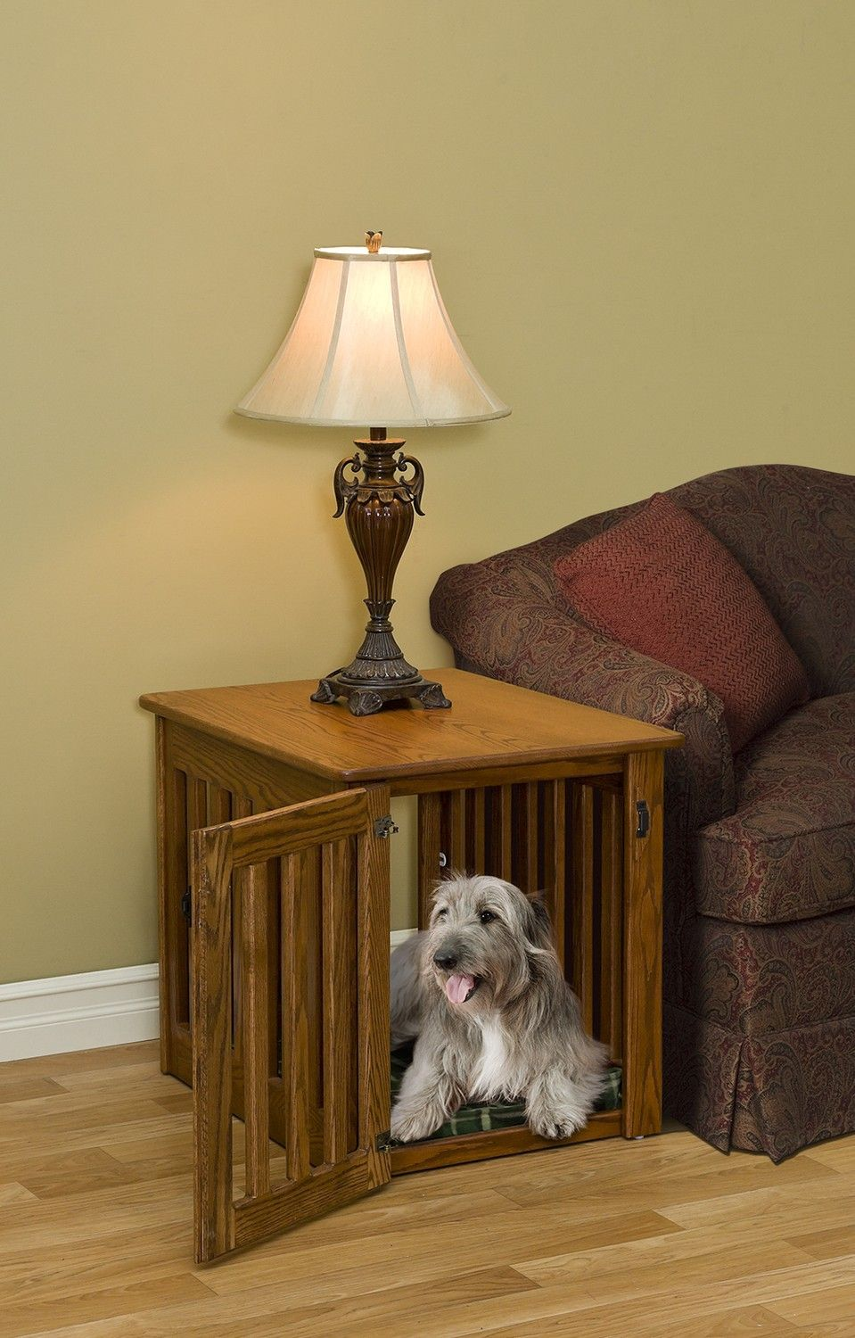 Medium Wooden Dog Crate End Table Made By Amish Craftman