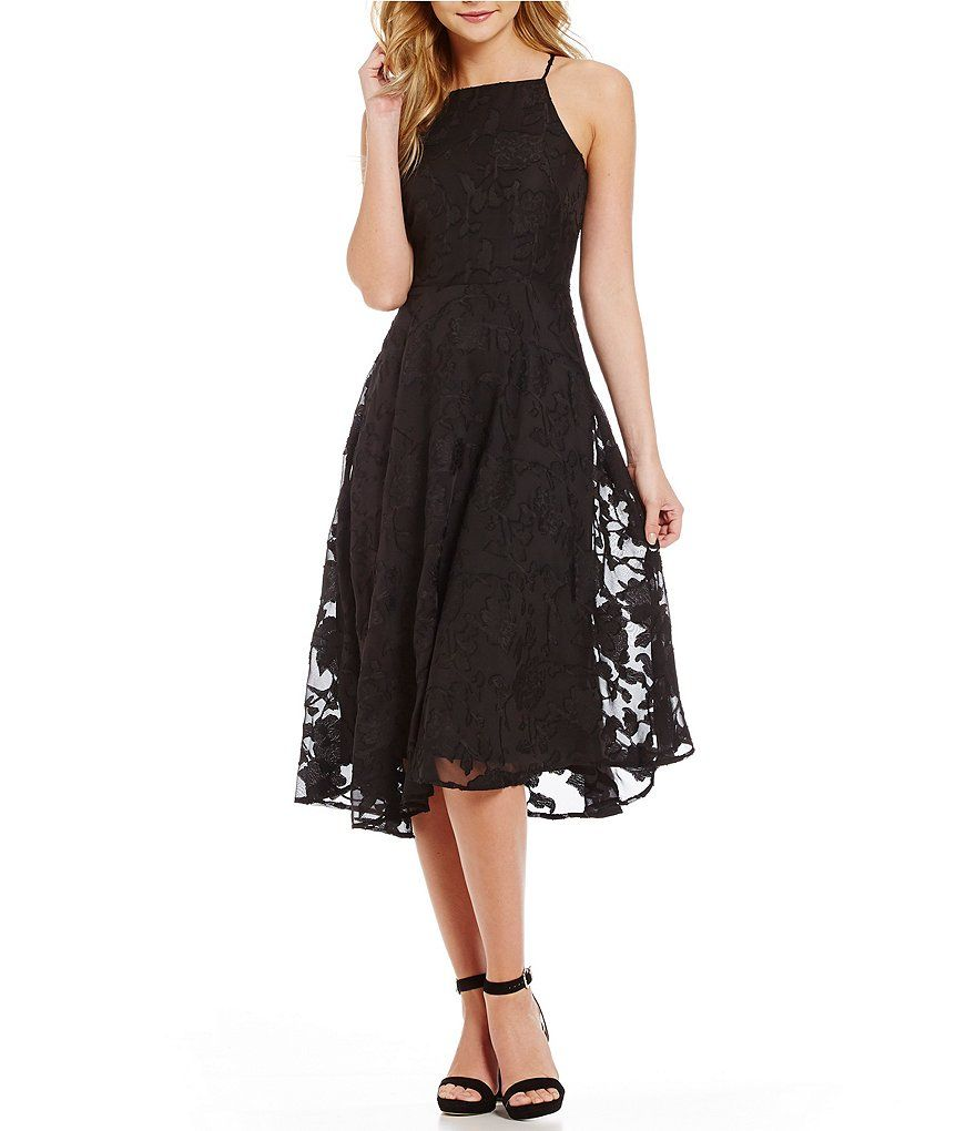 Rich Black:CeCe Floral Clipped Gauze Halter Midi Dress | For Texas ...