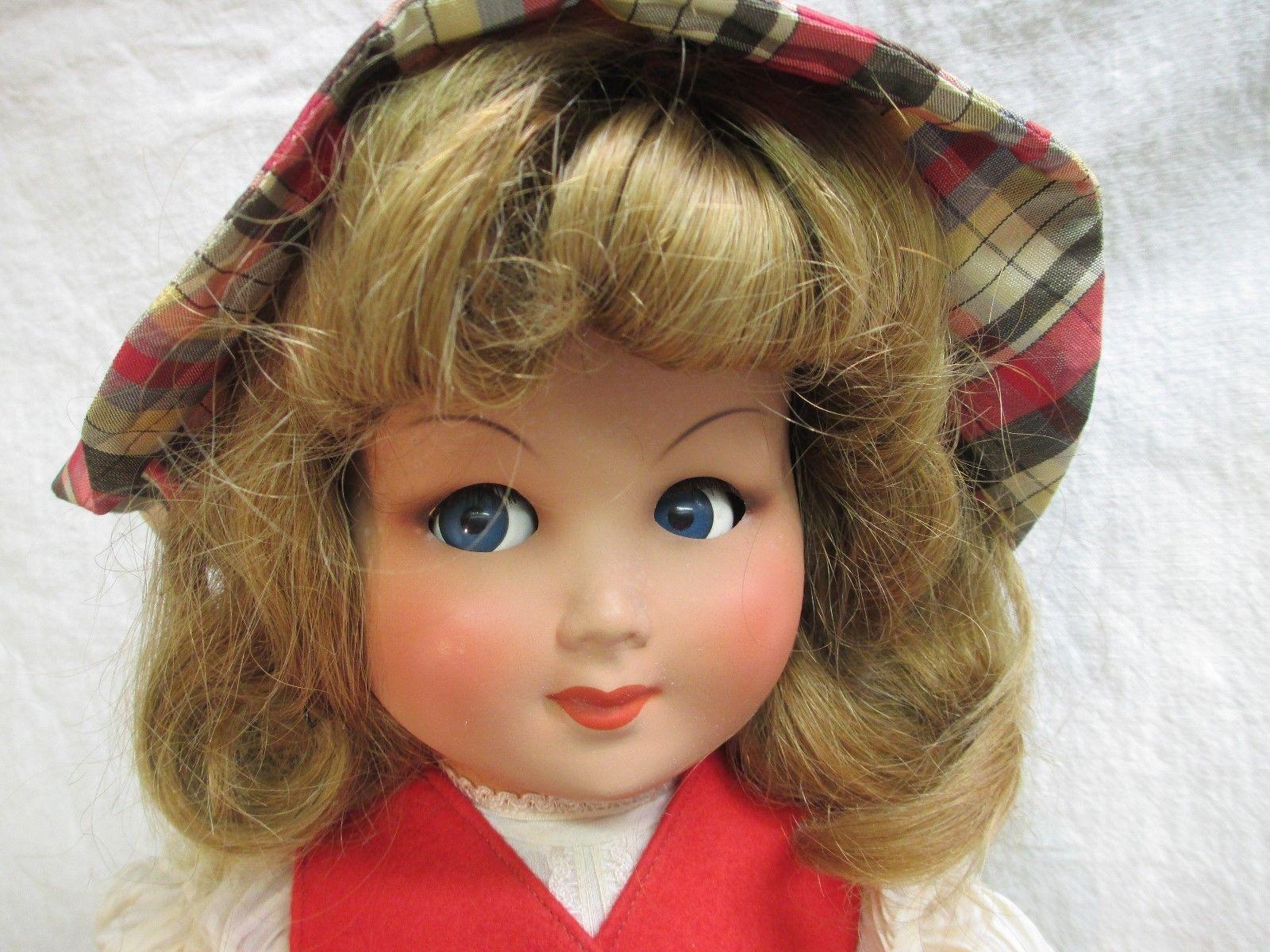 Bonomi Italian Doll 19 Flirty Eyes Move Hard Plastic Human Hair