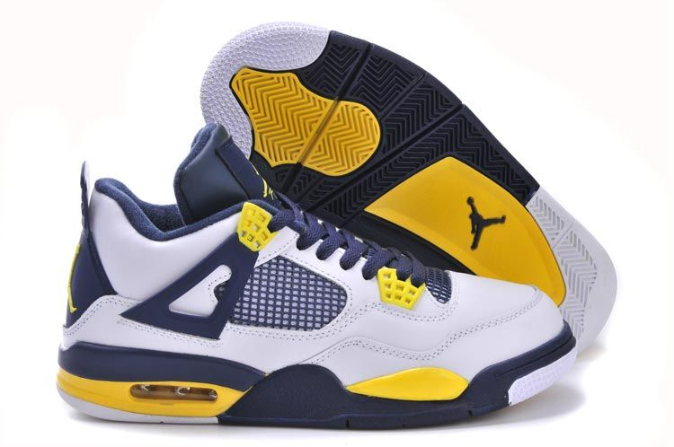 Jordan Shoes Air Jordan 4 Retro White Navy Yellow [Air Jordan 4 - These Air  Jordan 4 Retro White Navy Yellow shoes are definitely worth a spot in your  ...