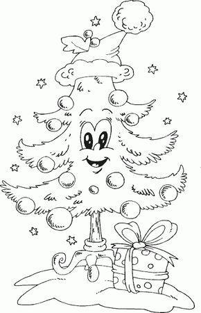 Derevo S Santa Shlyapu Stranice Raskraski Coloring Com Christmas Coloring Sheets Coloring Pages Coloring Books
