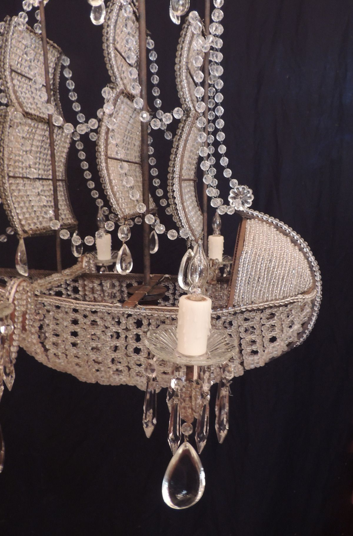 Early 1900s Venetian Crystal Iron and Tole Ship Chandelier
