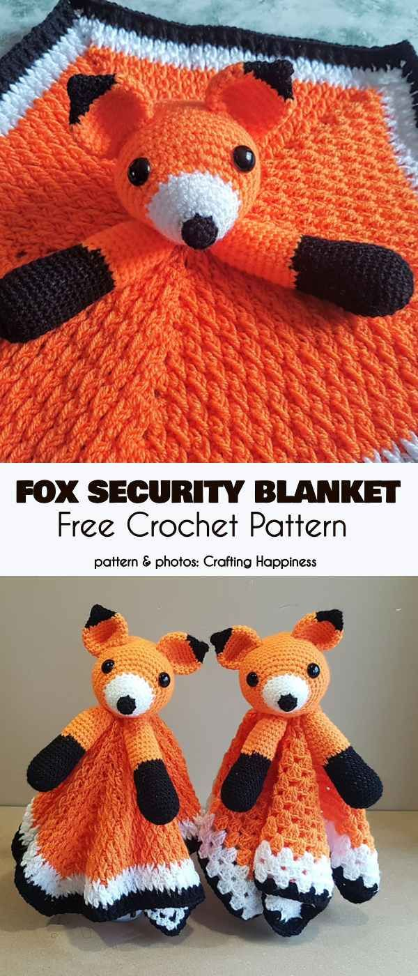Fox Security Blanket Free Crochet Pattern #crochetsecurityblanket