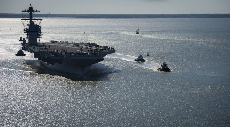 Photos Future Uss Gerald R Ford Supercarrier At Sea For First Time Aircraft Carrier Nuclear Submarine Fighter Jets