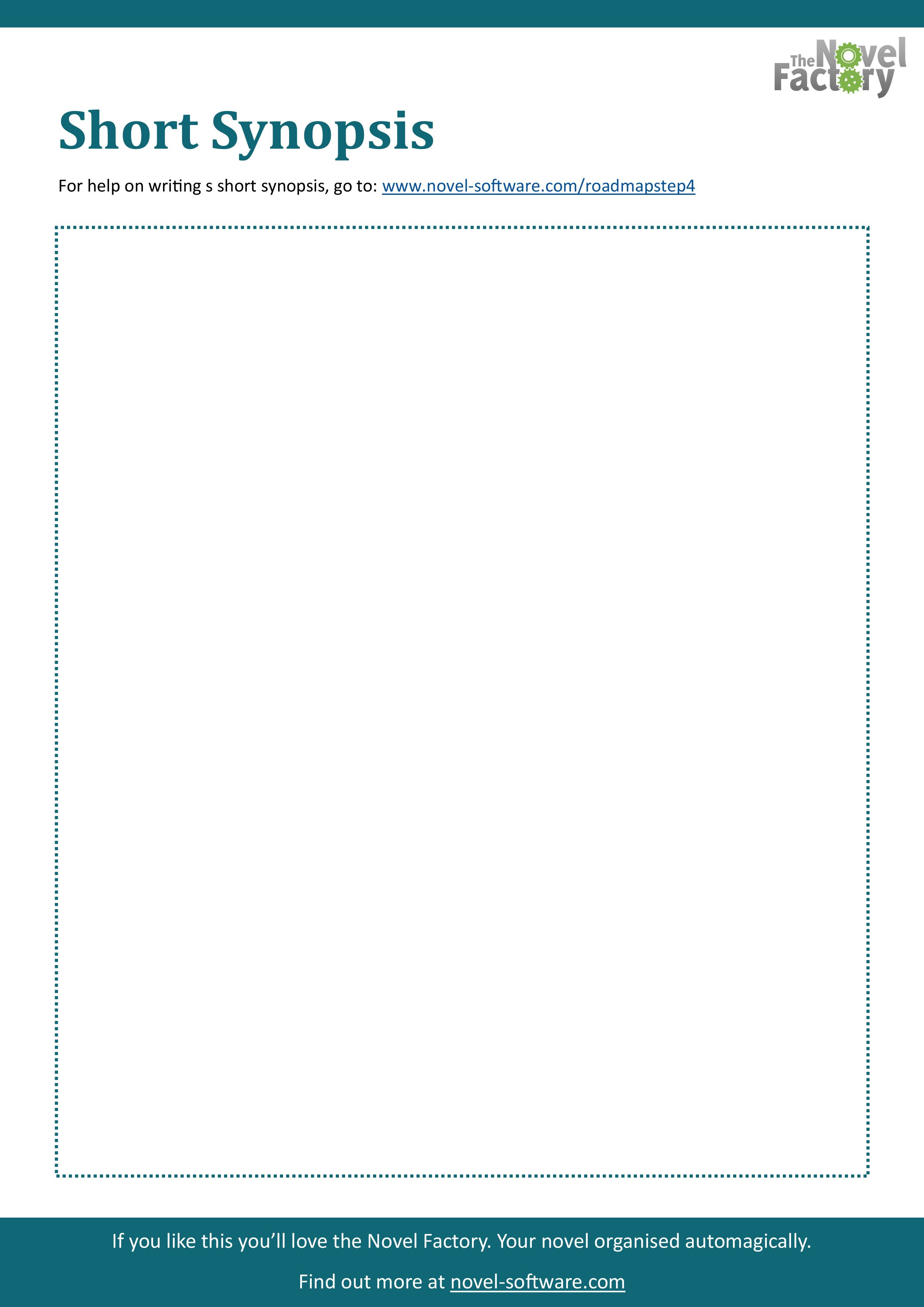 Short Synopsis Worksheet A Free Downloadable Printable