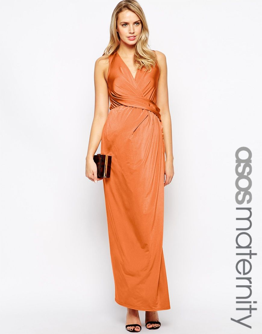 Asos maternity maxi dress with wrap front in us slinky rust
