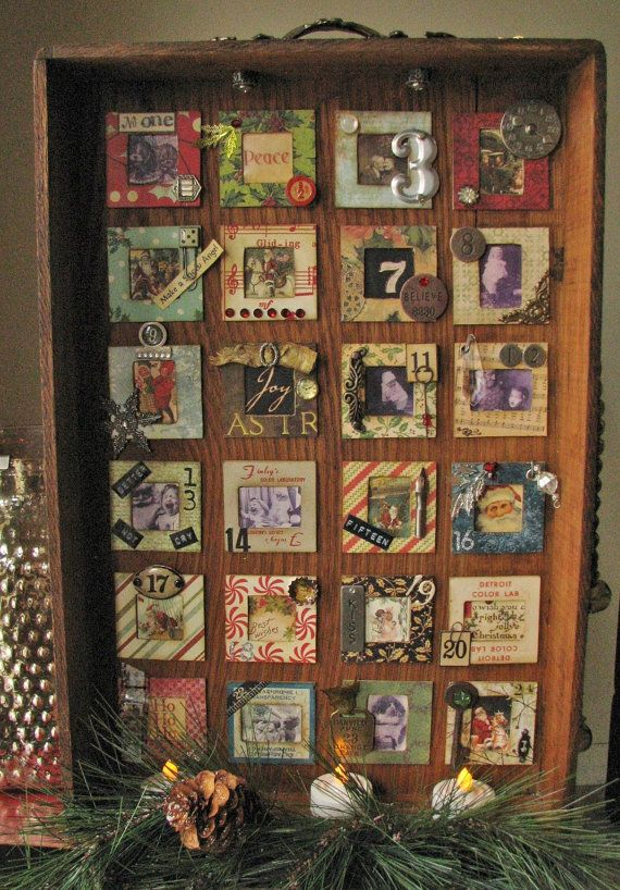 Vintage Christmas Advent Calendar OOAK by WillowpaigeVintage