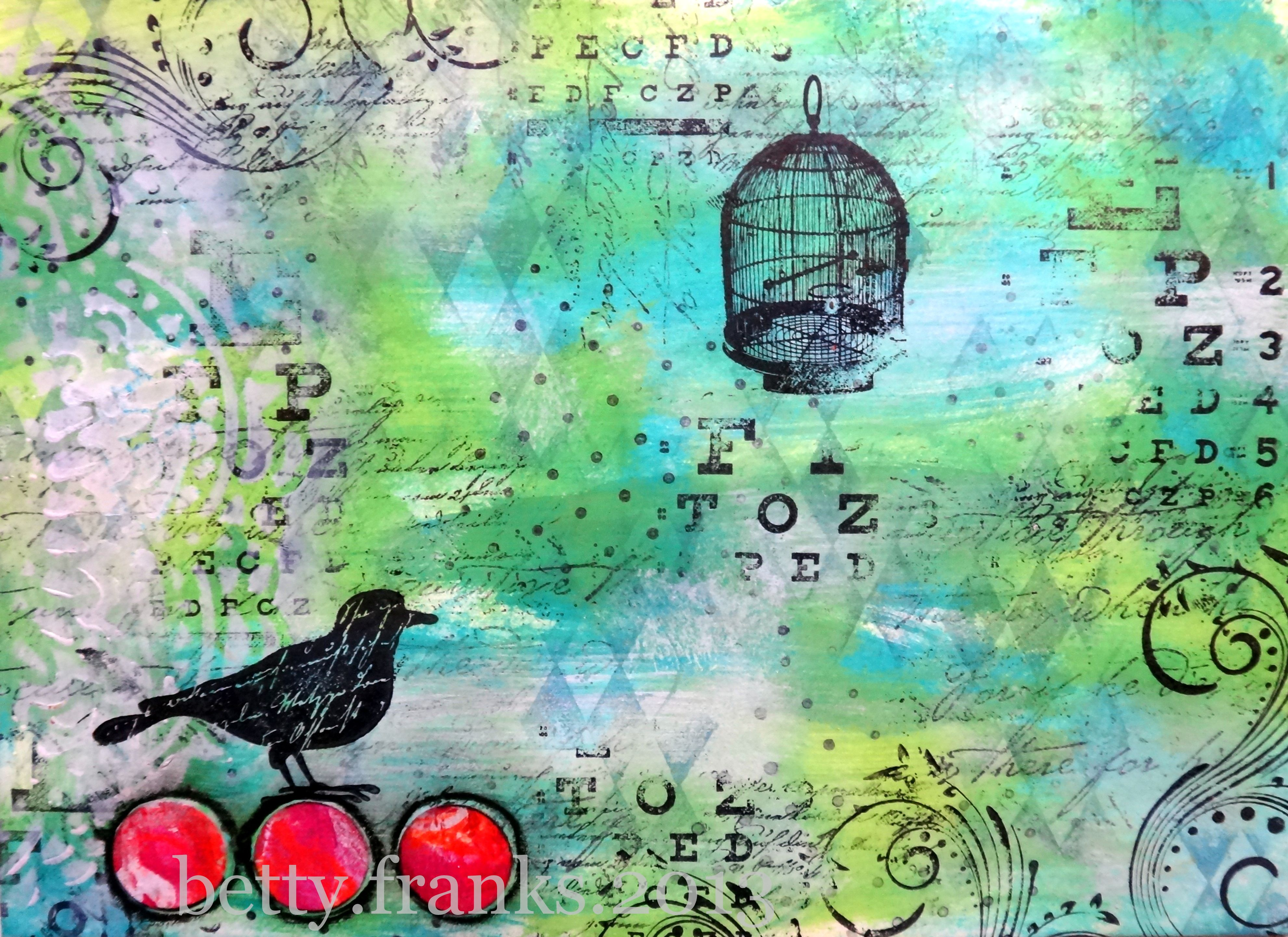 Mail Art Envelope - Free to Fly (bird, cage, mixed media)