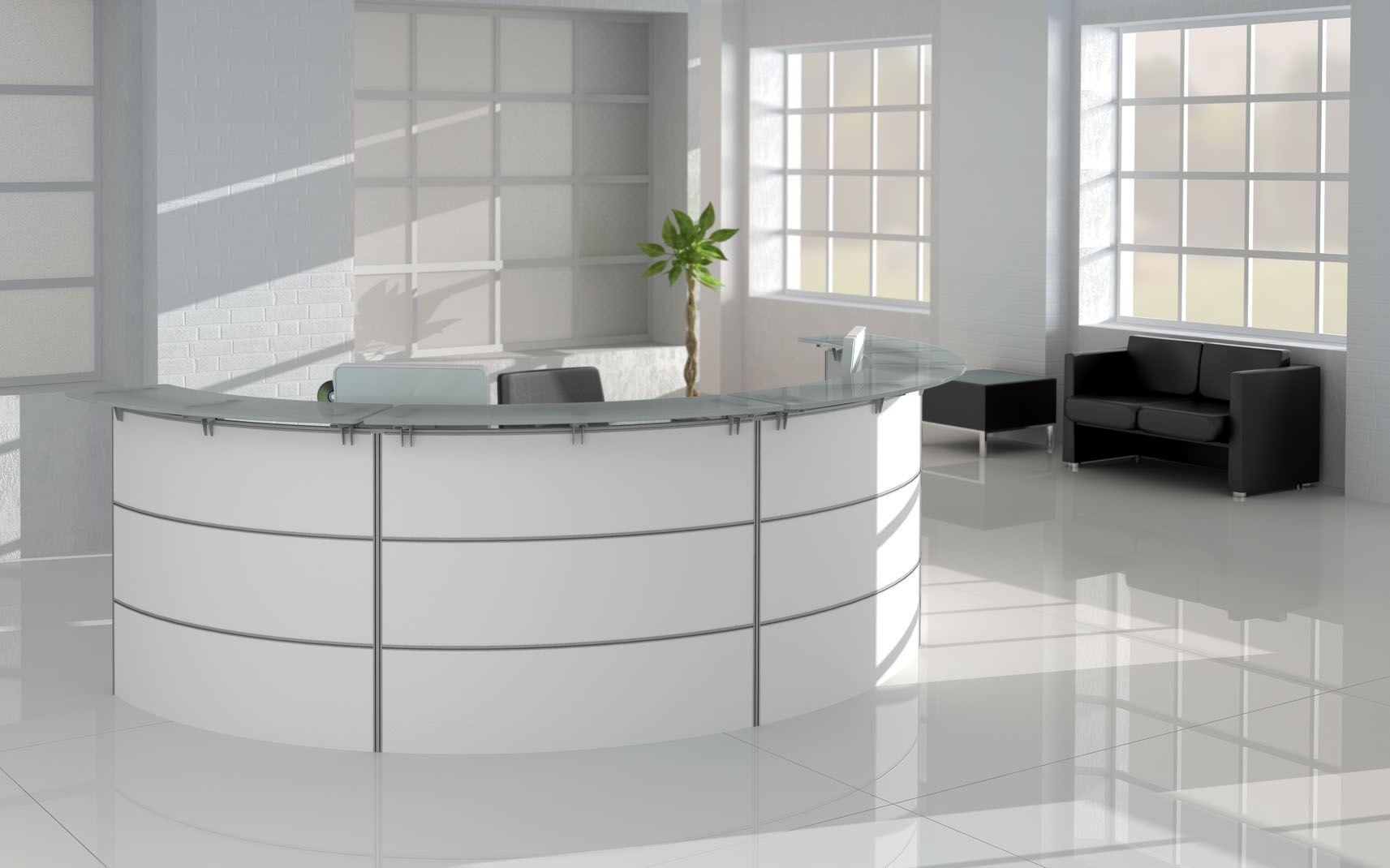 White Reception Modern Office Desk With Glass Top And Optional Items