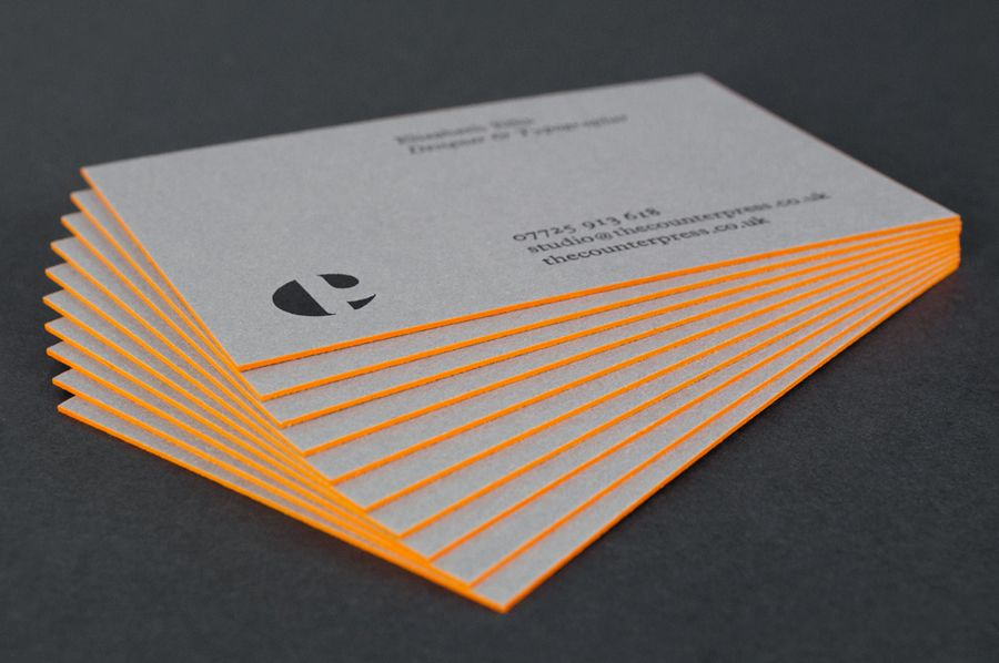 New Brand Identity For The Counter Press Bp O Edge Painted Business Cards Painted Business Cards Letterpress Business Cards