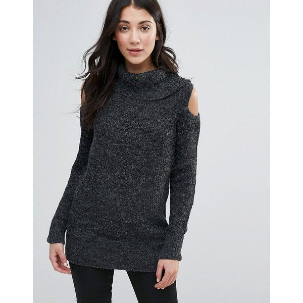 QED London Cold Shoulder Sweater ($34) ❤ liked on Polyvore featuring tops, sweaters, grey, open shoulder tops, roll neck sweater, gray sweaters, longline sweater and cold shoulder tops