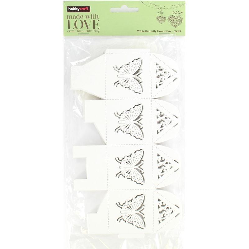Hobbycraft Butterfly Favour Box White 20Pcs
