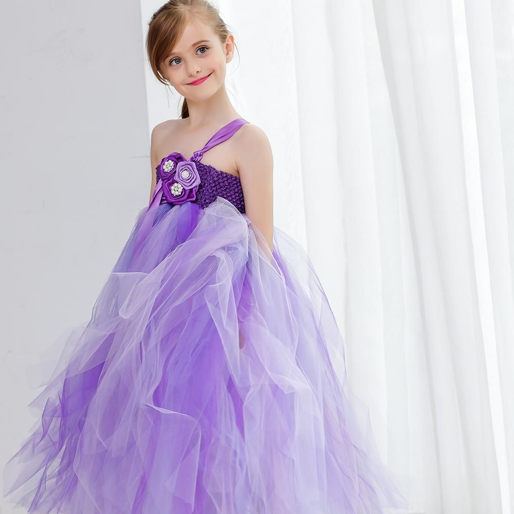Shiny Girls Pageant Dresses Strapless Tulle A Line Princess Purple