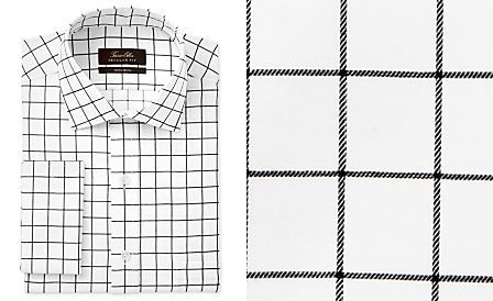 95e3ddfb643 Tasso Elba Men s Classic Regular Fit Black White Windowpane French Cuff Dress  Shirt