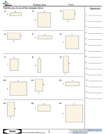 Area Worksheets Kindergarten