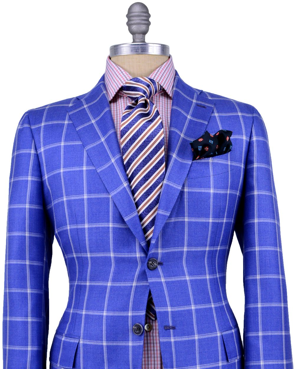 Kiton | Blue with White Windowpane Sportcoat | Apparel | Men's ...