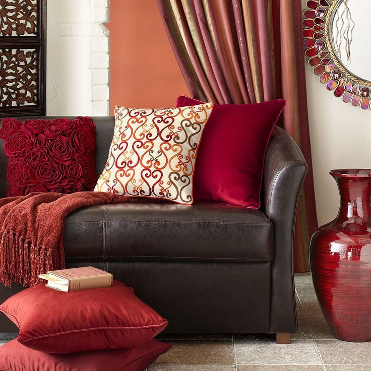 Red Ornaments For Living Room: Image Result For Brown Sofa With Red Accents