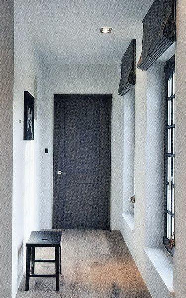 Black Door Black Windows Black Shades White Walls Amp Ceiling No Baseboards Or Crown Molding