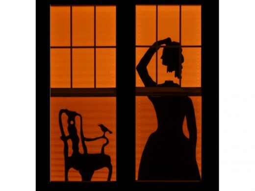 Headless Woman Window Shadow  http://barnaclebill.hubpages.com/hub/halloweenwindowsilhouettesdecorations