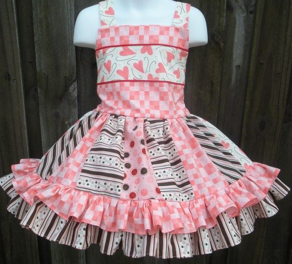Pink and Yellow Hearts with Pink Ruffle Skirt and Personalized Heart Applique Girls Personalized Valentines Day Outfit