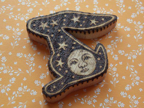 Moon Gazing Hare Talisman Charm Necklace by salixpyrography