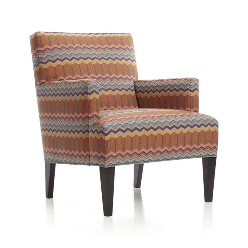 A Modern Classic Handsomely Outfitted In A Decorator S Dream Of Rainbow Zigzags Anchored By Bands Of Wa Chair Accent Chairs For Living Room Upholstered Chairs