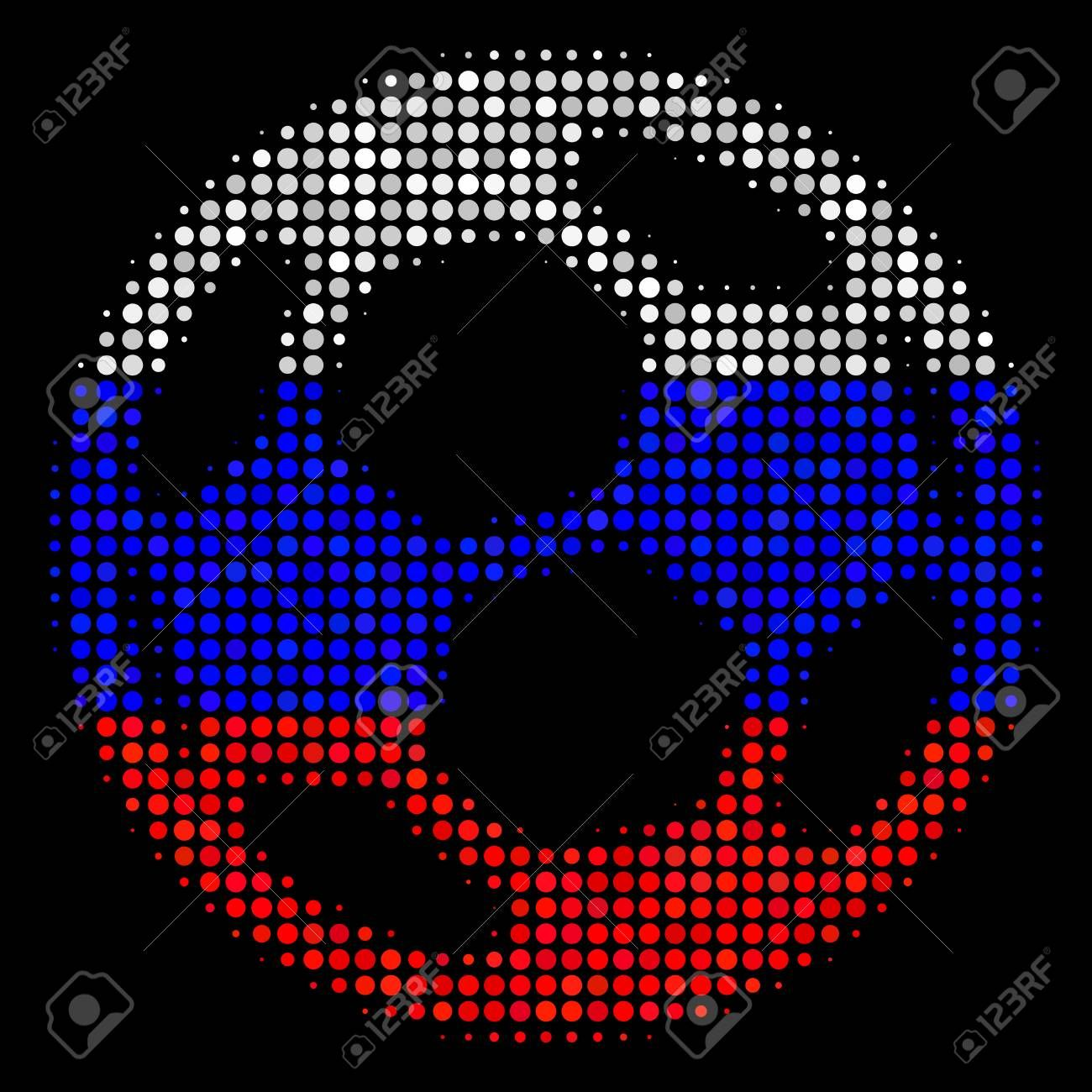 Halftone Football Ball Icon Colored In Russia Official Flag Colors On A Dark Background Vector Pattern Of Football B Flag Colors Vector Pattern Logo Templates