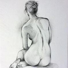 ORIGINAL artistic nude pencil charcoal drawing, women figure, girl, Illustration